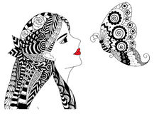 Zentangle pretty girl Royalty Free Stock Photo