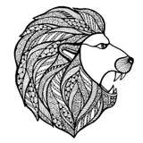 Zentangle principal de style de lion d'hurlement illustration de vecteur