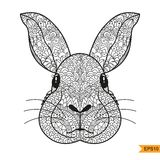 Zentangle Rabbit head for for adult antistress coloring page Royalty Free Stock Photos