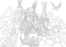 Zentangle rodowitego amerykanina hindusa kobieta Ilustracja Wektor