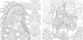 Zentangle rodowitego amerykanina indyjscy ludzie Ilustracja Wektor