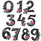 Zentangle Schéma Les nombres rayés de zéro à neuf avec la rose de rose fleurit Dessin à la main illustration libre de droits