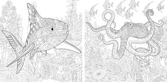 Zentangle shark and octopus. Stylized composition of underwater shark, octopus poulpe, tropical fish, seaweed, treasure chest with gold. Set collection for adult Vector Illustration