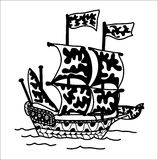 Zentangle ship. Vector ship  black and white . Hand drawn  illustration Royalty Free Stock Photo
