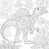 Zentangle spinosaurus dinosaur. Stylized spinosaurus dinosaur of the middle Cretaceous period. Freehand sketch for adult anti stress coloring book page with Royalty Free Stock Images