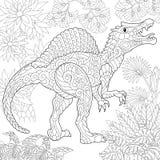Zentangle spinosaurus dinosaur