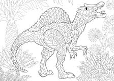 Zentangle spinosaurus dinosaur. Stylized spinosaurus dinosaur of the middle Cretaceous period. Freehand sketch for adult anti stress coloring book page with Stock Photos