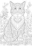 Zentangle spring cat Stock Photography