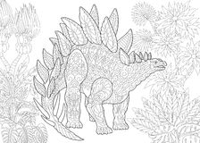 Zentangle stegosaurus dinosaur. Stylized stegosaurus dinosaur of the Jurassic and early Cretaceous periods. Freehand sketch for adult anti stress coloring book Royalty Free Stock Image