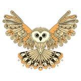 Zentangle stileerde Bruine vliegende Uil Hand getrokken vector illustrat stock illustratie