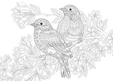 Zentangle stileerde twee vogels vector illustratie