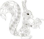 Zentangle stiliserad svartvit hand dragen ekorre med hasselnötter Royaltyfri Foto
