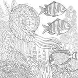Zentangle stiliserade akvariet Fotografering för Bildbyråer