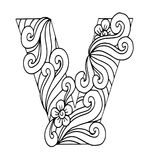 Zentangle stiliserade alfabet Bokstav V i klotterstil Räcka utdraget skissar stilsorten Arkivbild