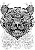 Zentangle stiliserade björnframsidan på blommor Hand dragen etnisk anima Royaltyfri Bild