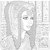 Zentangle stiliserade Cleopatra (Nefertiti) Arkivfoton