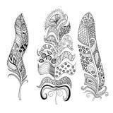 Zentangle stiliserade den eleganta fjäderuppsättningen Hand dragen tappning vektor illustrationer