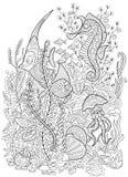 Zentangle stiliserade den fastställda havssamlingen för djuret Havliv Arkivfoton