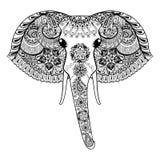 Zentangle stiliserade den indiska elefanten Hand dragen paisley vektor il vektor illustrationer