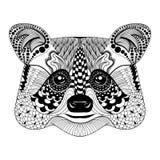 Zentangle stiliserade den svarta tvättbjörnframsidan Hand dragen klottervektor royaltyfri illustrationer
