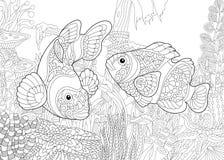 Zentangle stiliserade den undervattens- världen royaltyfri illustrationer