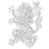 Zentangle stiliserade det lösa lejondjuret Royaltyfri Fotografi