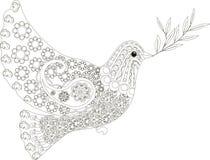 Zentangle stiliserade duvan av den drog svartvita handen för fred, vektor Royaltyfri Bild