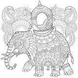Zentangle stiliserade elefanten Fotografering för Bildbyråer