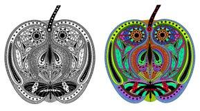 Zentangle stiliserade färg- och svartäpplet Arkivfoto