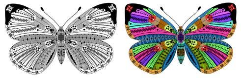 Zentangle stiliserade färg- och svartfjärilen Arkivfoto