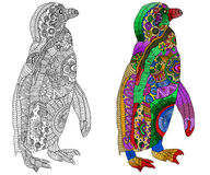 Zentangle stiliserade färg- och svartpingvinet Fotografering för Bildbyråer