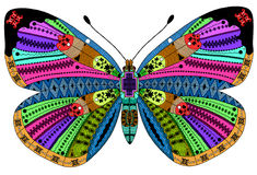Zentangle stiliserade färgfjärilen Royaltyfria Bilder