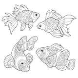 Zentangle stiliserade fiskart vektor illustrationer