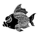 Zentangle stiliserade fisken Arkivbild