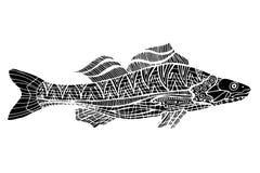 Zentangle stiliserade fisken Arkivbilder