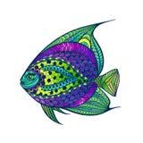 Zentangle stiliserade fisken med abstrakt färgrik bakgrund Arkivfoto