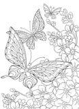 Zentangle stiliserade fjärilar och den sakura blomman Arkivbild