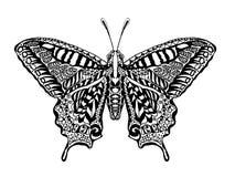 Zentangle stiliserade fjärilen Arkivfoto