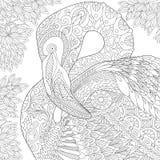 Zentangle stiliserade flamingo Royaltyfria Bilder