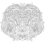 Zentangle stiliserade framsidan av lejonet Royaltyfria Bilder