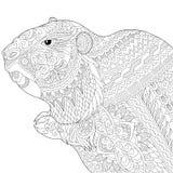 Zentangle stiliserade groundhog stock illustrationer