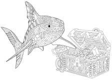 Zentangle stiliserade hajen Arkivfoton