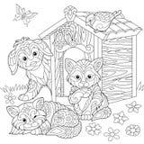 Zentangle stiliserade inhemska husdjur stock illustrationer