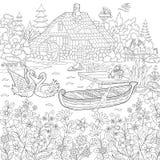 Zentangle stiliserade lantligt landskap royaltyfri illustrationer