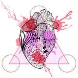 Zentangle stiliserade mänsklig hjärta i triangelram med vattenfärgen vektor illustrationer