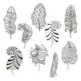 Zentangle stiliserade nio fjädrar för att färga sidan vektor illustrationer
