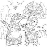 Zentangle stiliserade pingvin och isbjörnar stock illustrationer