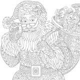 Zentangle stiliserade Santa Claus Fotografering för Bildbyråer