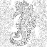 Zentangle stiliserade seahorsen Fotografering för Bildbyråer