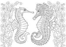 Zentangle stiliserade seahorsen och blommor royaltyfri illustrationer